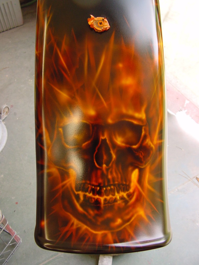 Flaming skull fender