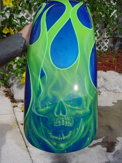 graphic flames with skull