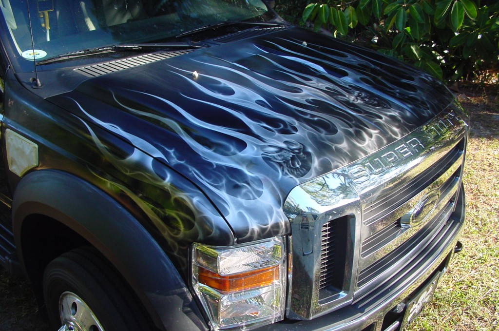 tribal flames with skull truck