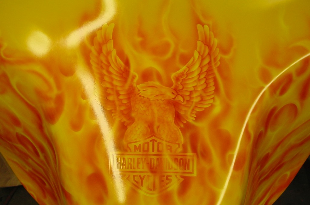 Real fire on yellow
