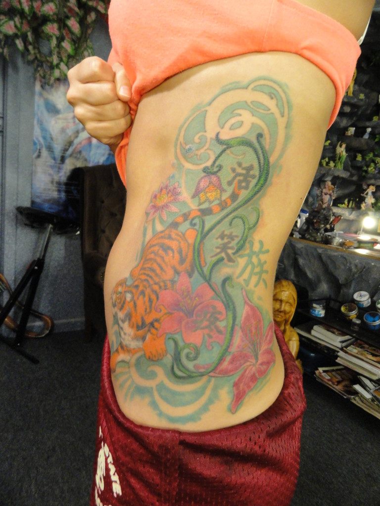 floral tiger on ribs