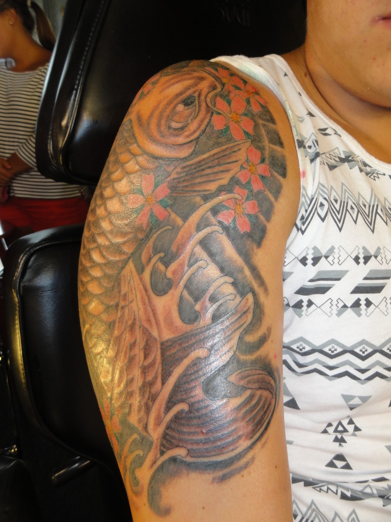 oriental koi with waves