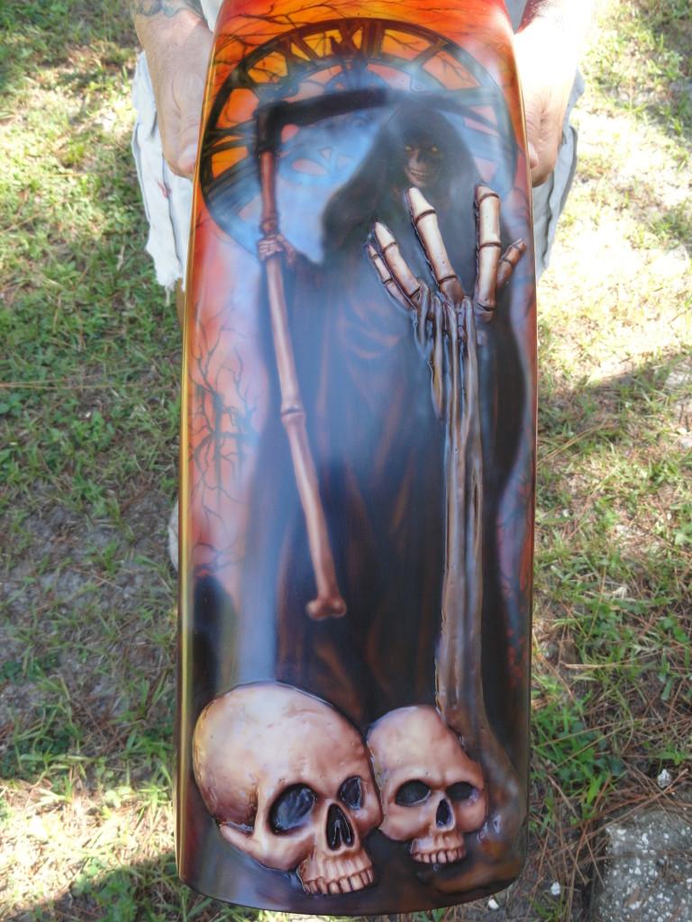 rear fender grim reaper with skulls