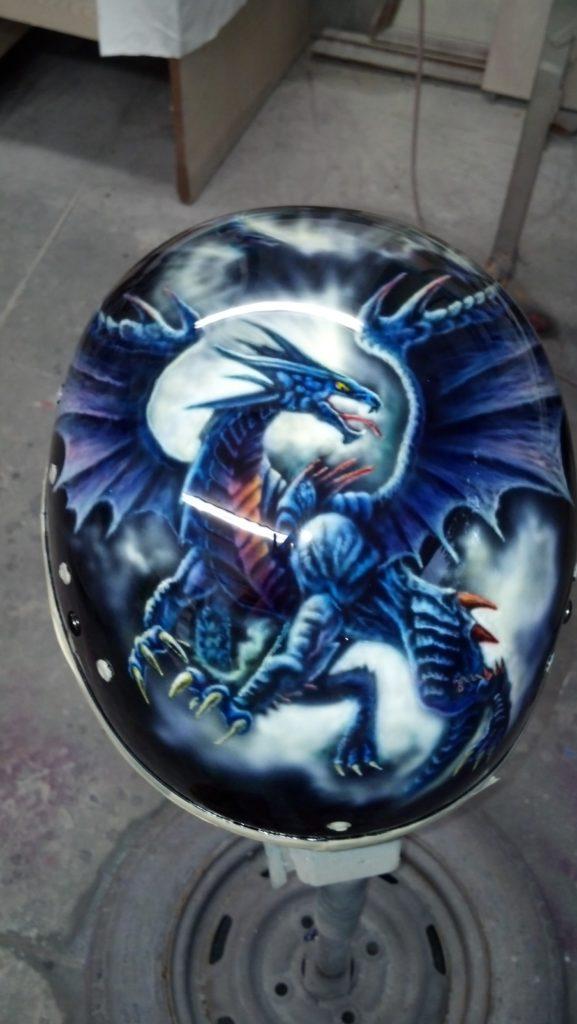 custom painted helmet with dragon