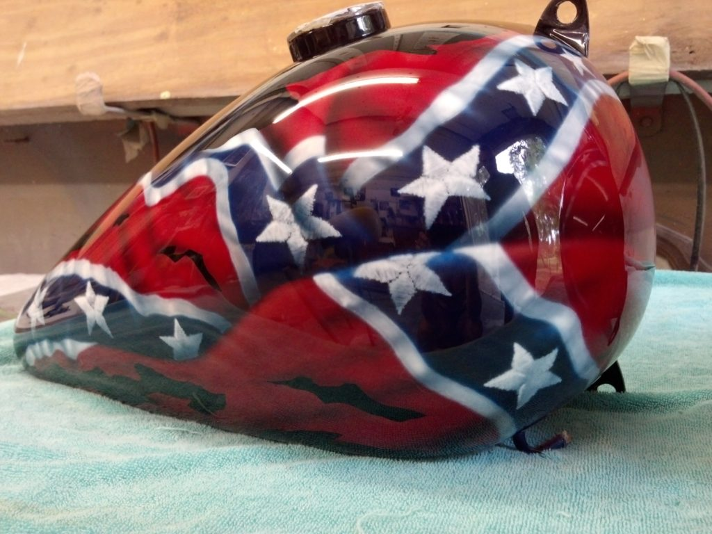 custom painted tank with Rebel flag