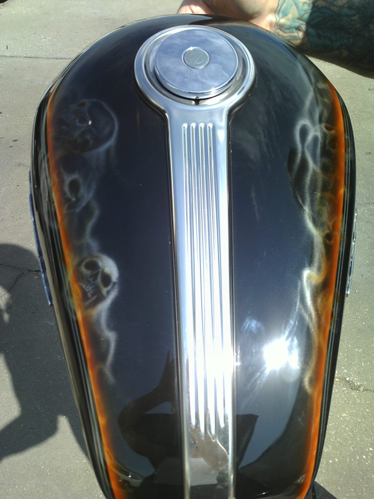custom painted tank top view