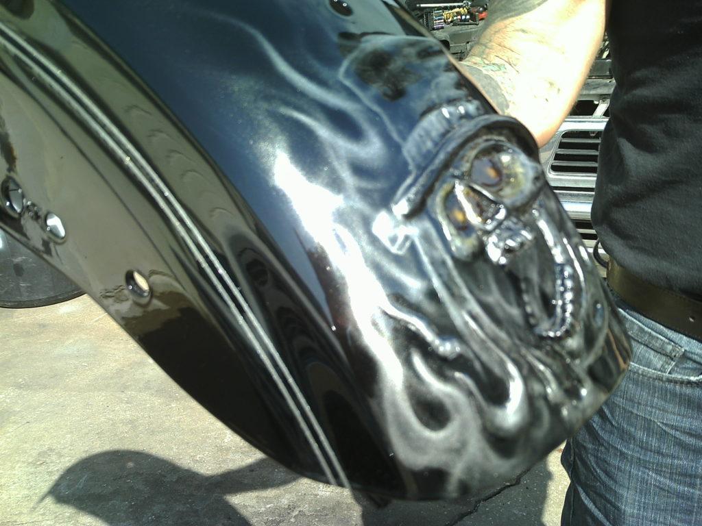 custom painted rear fender with 3D skull